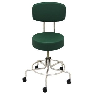 "Non-Magnetic MRI Adjustable Stool, 16"" to 22"" with Back - Green"
