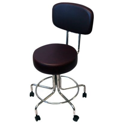 """Non-Magnetic MRI Adjustable Stool, 22"""" to 28"""" with Back - Burgundy"""