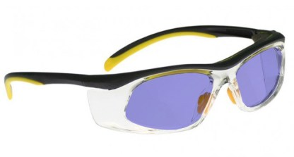 Model 206 Glassworking Safety Glasses - Polycarbonate Sodium Flare - Black and Yellow with Clear Side Shields