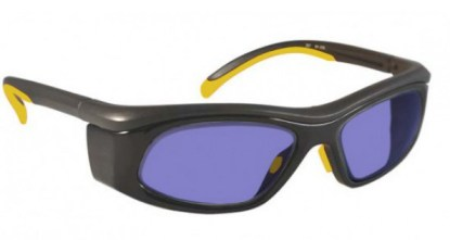 Model 206 Glassworking Safety Glasses - Polycarbonate Sodium Flare - Black and Yellow with Smoke Gray Side Shields
