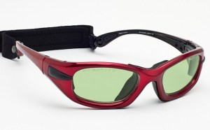Model EGM Glassworking Safety Glasses - Light Green Filter - Red