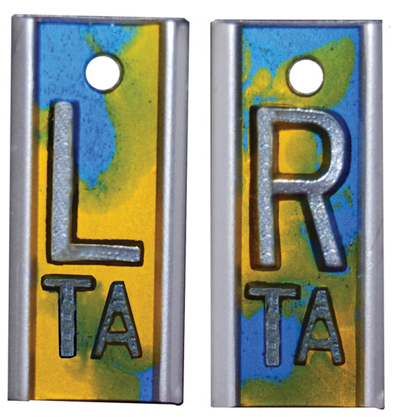 "R & L 5/8"" X-ray Film Markers - Tie Dye Blue / Yellow / Green"