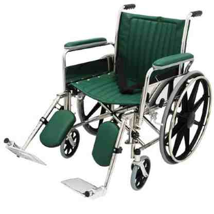 """20"""" Wide Non-Magnetic MRI Wheelchair w/ Detachable Elevating Legrests - Green"""