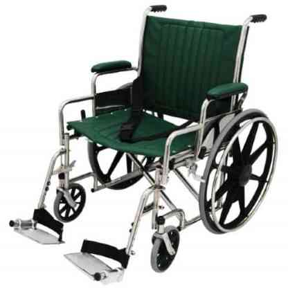 "22"" Wide Non-Magnetic MRI Wheelchair w/ Detachable Footrests - Green"