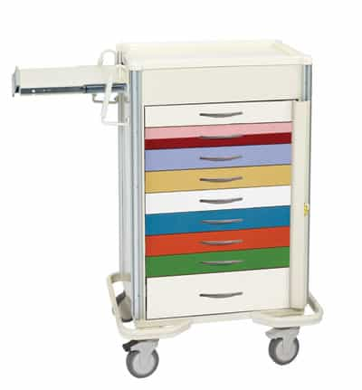 "Emergency Crash Cart - Select Series 9 Drawer Pediatric Crash Cart with 30"" Lock Bar"