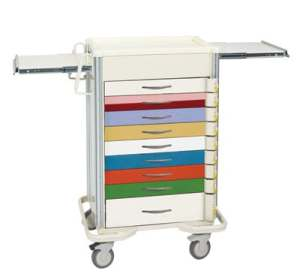 Emergency Crash Cart - Select Series 9 Drawer Pediatric Crash Cart with Individual Lock Bars
