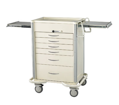 Select Series 6 Drawer Locking Anesthesia Cart - Push Button Lock
