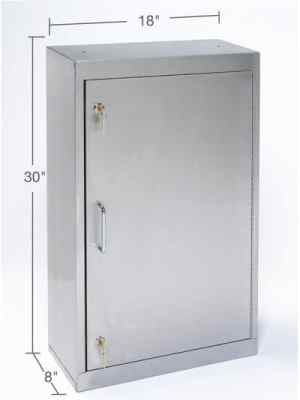 Stainless Steel Narcotic Storage Cabinet - Double Key Lock