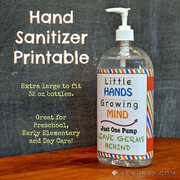 hand sanitizer free printable1 12+ Back to School Ideas 4 back to school ideas