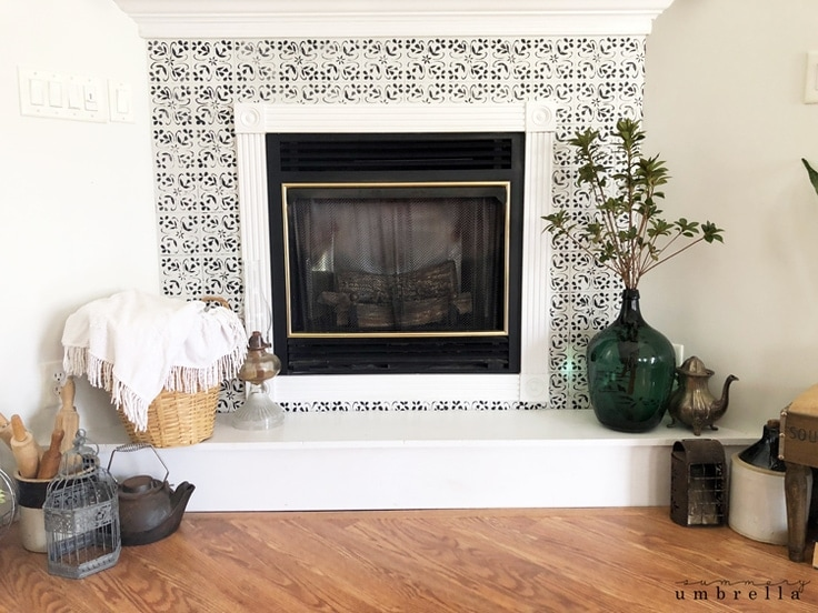 how to stencil faux tile around your