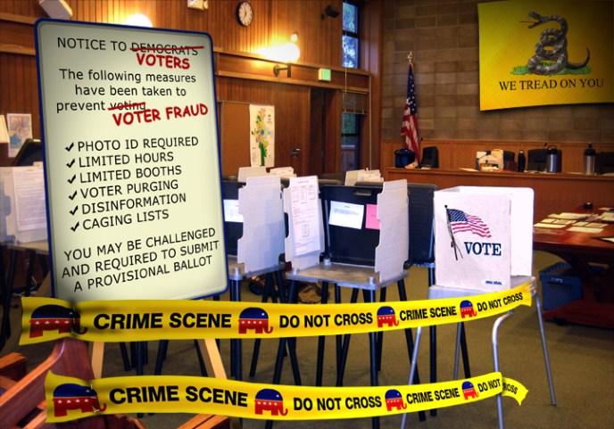 Cartoon depicts voting stations blocked off with crime-scene tape, showing a list of measures that make it more difficult to vote: photo ID, limited hours, voter purges, etc.