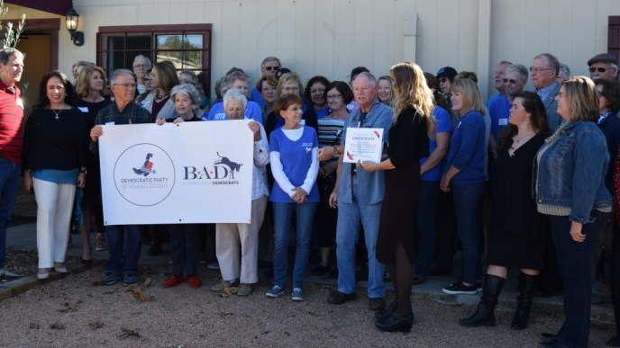 Large group of attendees at the December 2019 ribbon-cutting for the new Boerne Democratic Headquarters.
