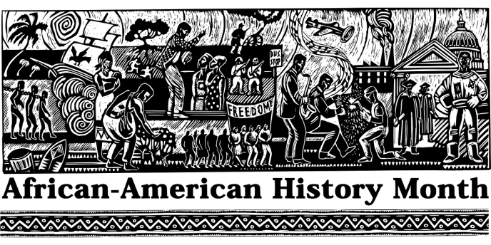 Woodcut-style illustration showing scenes from African-American history