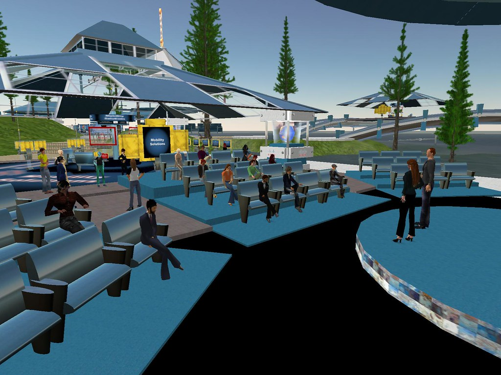 Avatars gather for a virtual conference in Second Life