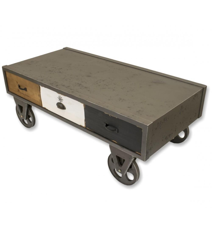 table basse de style industriel sur roulettes