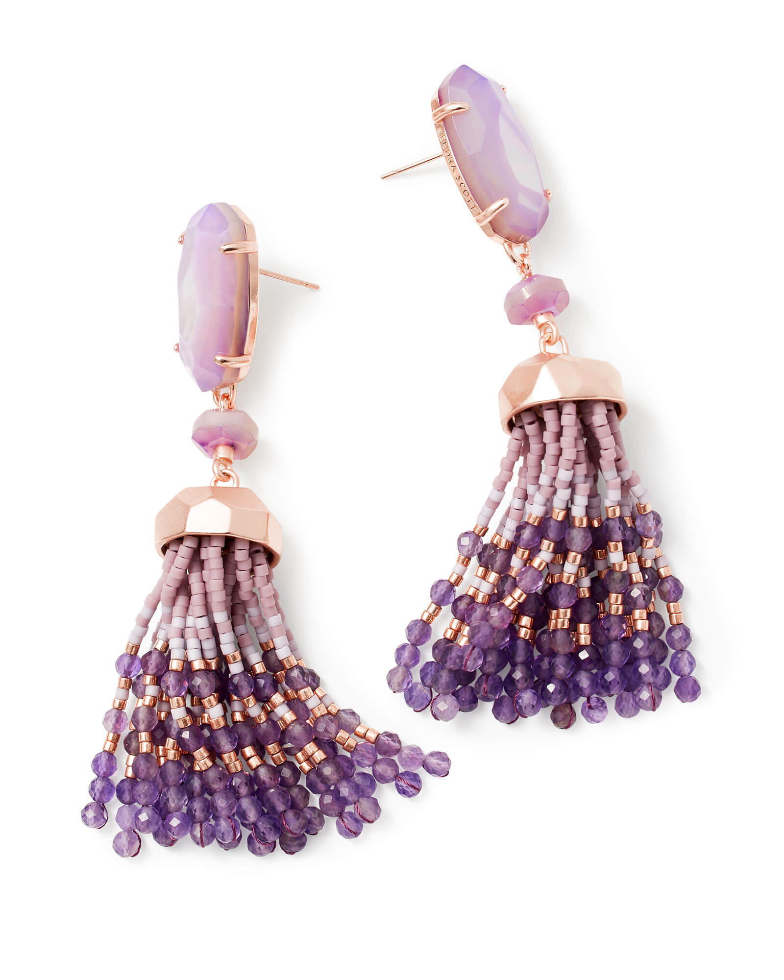 Dove Rose Gold Statement Earrings In Lilac Pearl Kendra