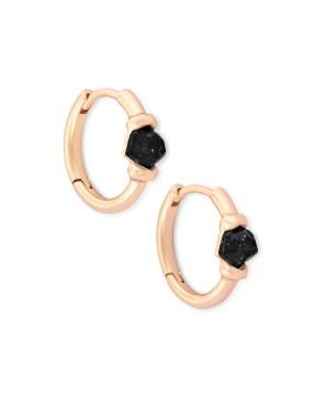 Ellms Rose Gold Huggie Earrings in Black Granite