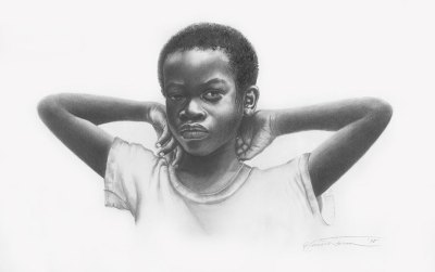 pencil drawing of an african-american boy by artist ken falana