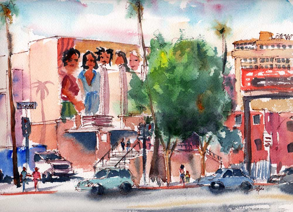 Hollywood High Mural and Hallelujah Hollywood Watercolor