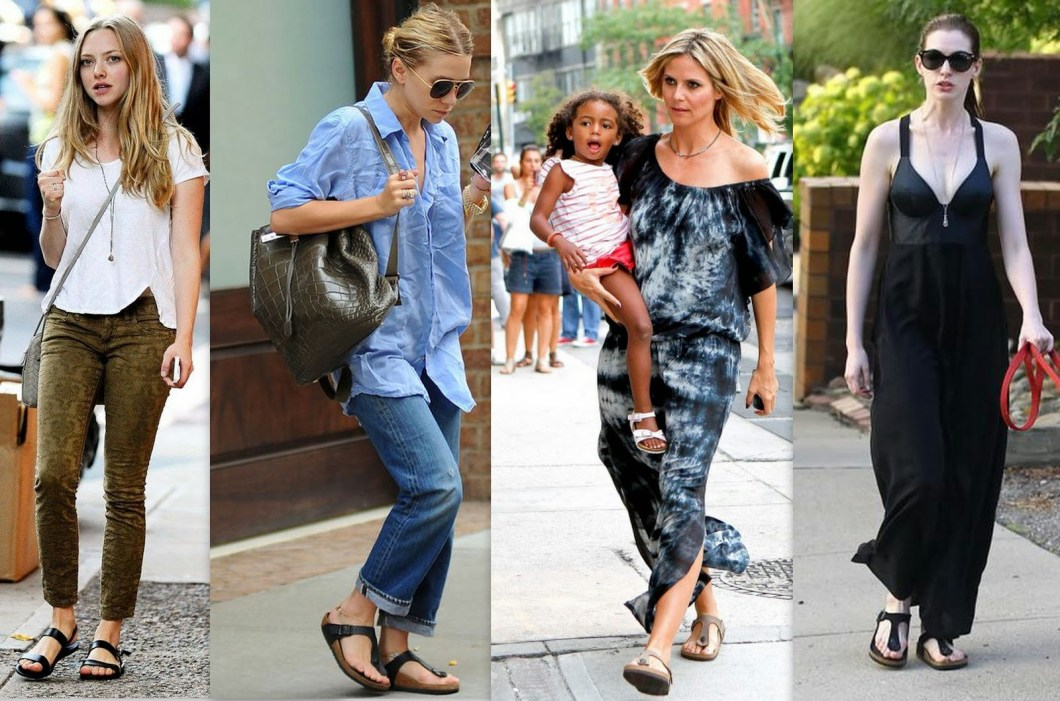 multiple celebrities embrace the arizona two-strap sandal style of the birkenstock brand