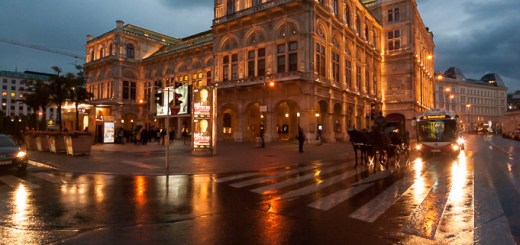 Reflections of the Vienna State Opera, Vienna, Austria