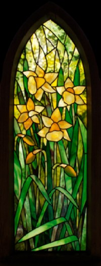 Daffodil Framed Stained Glass Panel