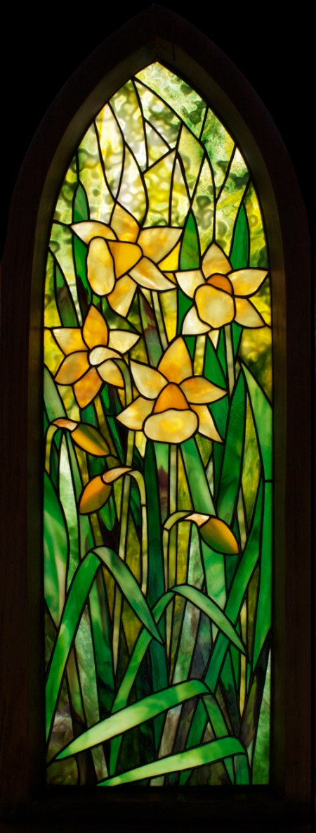 Gothic Daffodils framed stained glass panel, designed by David Kennedy, Uroboros Art Glass