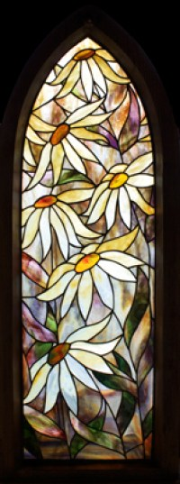 Daisy Framed Stained Glass Panel