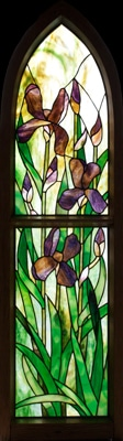 Purple Iris Stained Glass Panel © David Kennedy 2011