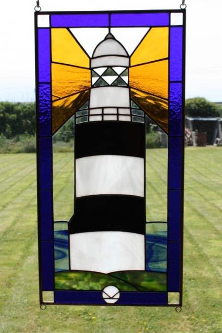 Hook Lighthouse panel with bevel pieces and a blue border, black and white lighthouse, designed by David Kennedy.