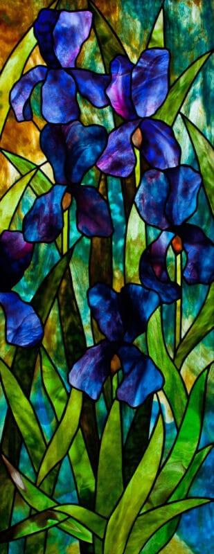 Moody Irises Stained Glass Pattern