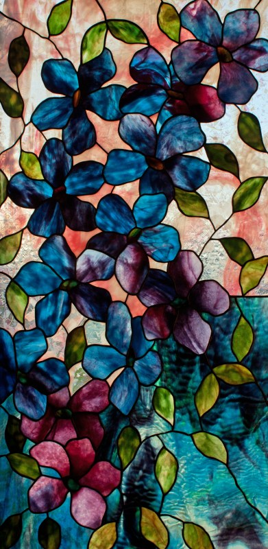 Blue Clematis stained glass pattern design by David Kennedy.
