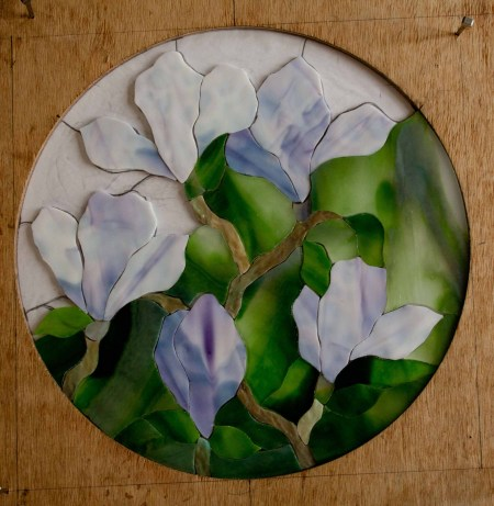 Round Magnolia Tutorial step 5 lower green background glass added