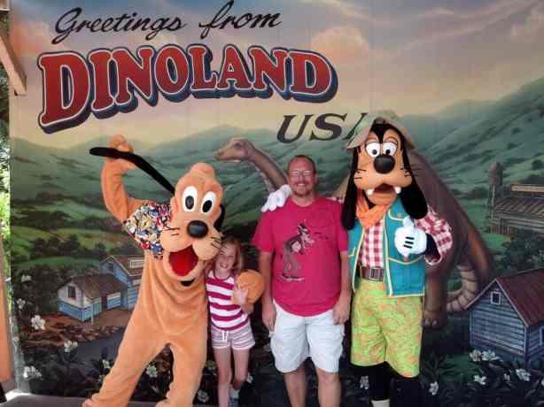 Pluto and Goofy at Dinoland in Animal Kingdom 2012