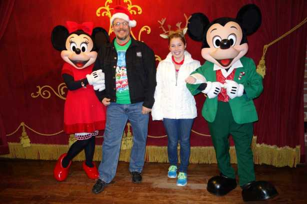 Mickey and Minnie at Town Square Theater in Magic Kingdom 2012 Christmas Party