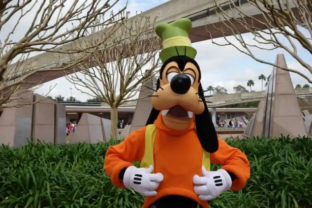 Goofy at Epcot entrance 2013