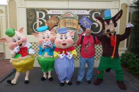 "Fiddler, Fifer and Practical Pig with Big Bad Wolf.  I was wearing my BBW shirt that says, ""MMMM Bacon!"""