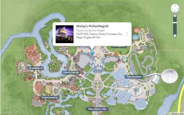 My Disney Experience website map