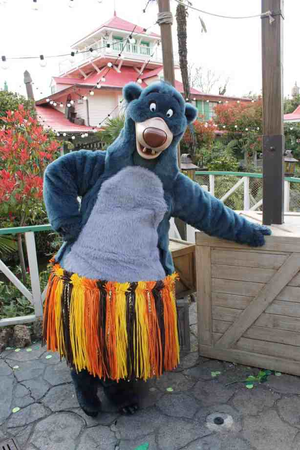 Baloo can be found most of the time in Adventureland. Here he was wearing a special outfit on the 12th of April 2012 during the special happenings for the 20th Anniversary.