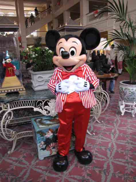 Mickey wearing one of his special outfits at the Disneyland Hotel.