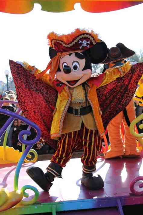 Mickey Mouse in Halloween Pirate costume at Disneyland Paris