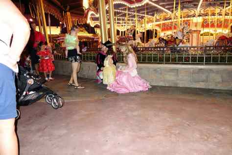 It was difficult to Locate Aurora and Phillip.  They were supposed to be behind the Castle, but found them behind the Carousel.  They close the back of the castle to prepare for fireworks.  They will move to Fairy Tale Hall for the 9/20 party anyway.  8:21 PM