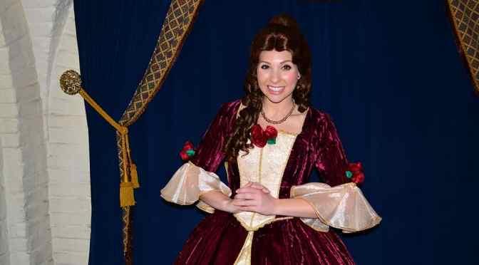 Princess Dining at Akershus Royal Banquet Hall in Norway at Epcot including Belle's Christmas dress