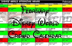 February 2018 Disney World Crowd Calendar Park Hours
