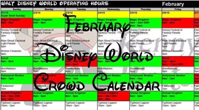February 2018 Disney World Crowd Calendar Park Hours
