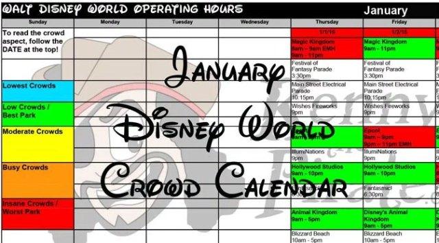 Disney Crowd Calendar January 2018