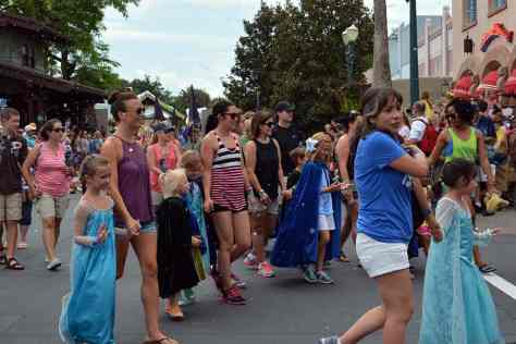 Junior princesses Anna and Elsa's Royal Welcome Parade featuring Kristoff at Hollwood Studios in Disney World