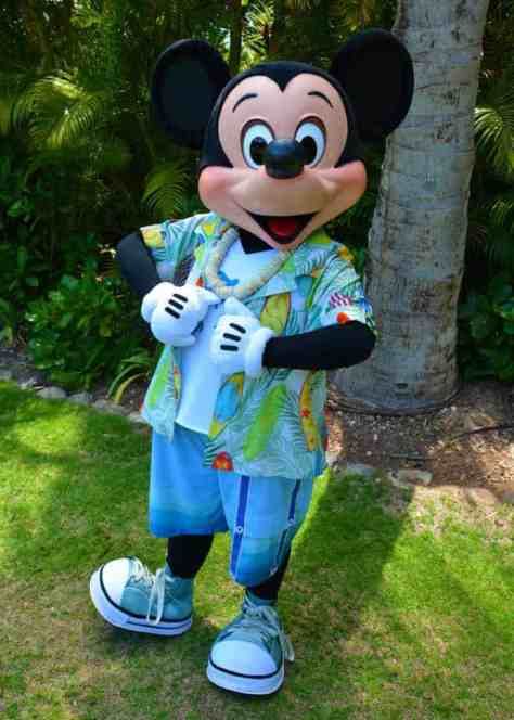 Mickey Mouse on the Halawai Lawn at Disney's Aulani in Oahu Hawaii