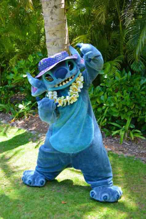 Stitch at the Halawai Lawn at Disney's Aulani in Oahu Hawaii