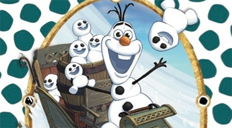 Olaf is featured for this year's Sorcerer's of the Magic Kingdom Christmas Party card